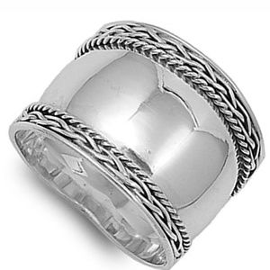 Sale🎉 Silver wide Bali style ring